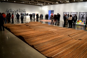 Ai Weiwei created this piece, Straight, from rebar he recovered from collapsed schoolhouses following the 2008 earthquake in Sichuan Province. Each mangled piece of rebar was straightened through a laborious process.