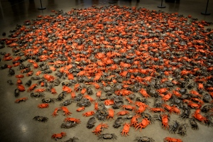 "He Xie, or ""river crab,"" consists of more than 3,200 porcelain crabs. ""He xie"" is also a homophone for the Chinese word for ""harmonious,"" which is part of the Chinese Communist Party slogan. Today, ""he xie"" has become an ironic Internet euphemism for official censorship."
