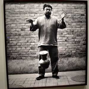 Here Ai Weiwei is dropping a Han Dynasty Urn (part of a photographic triptych).