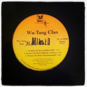 "My very rare copy of the first pressing of ""Protect Your Neck"" pressed on Wu-Tang Records."