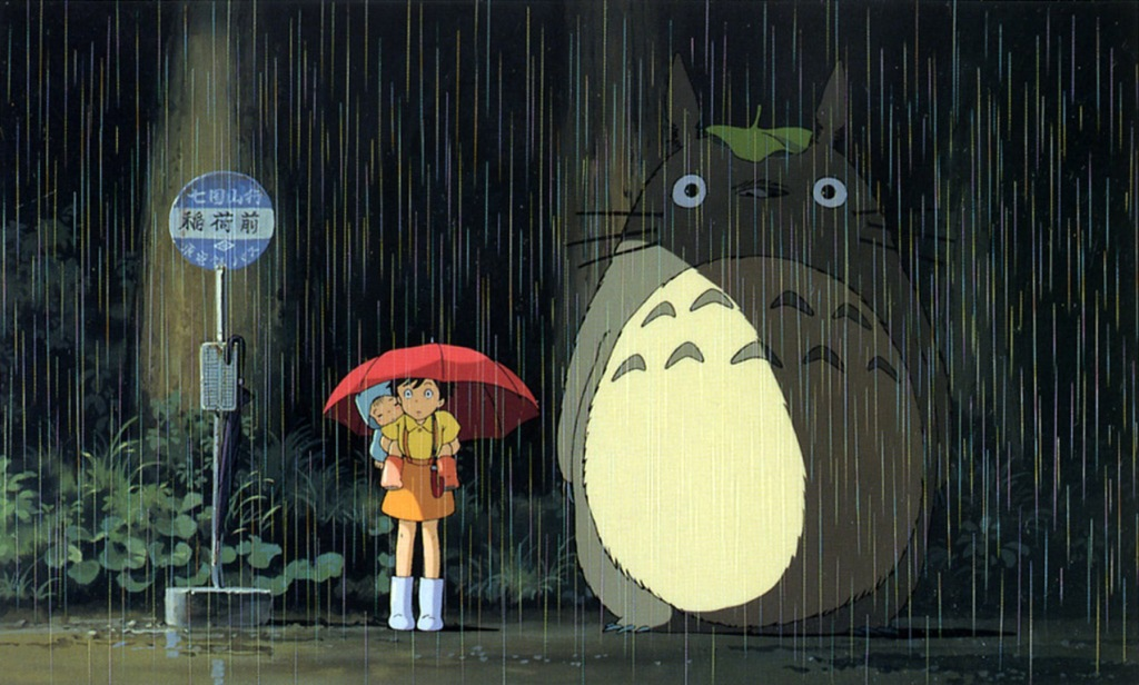 Notice the detail and wonderment in this scene where Totoro shows up to wait with the girls for their father who is late to arrive from work.